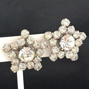 Vintage Earrings Clear Crystals Screwback 2H